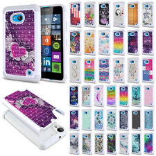 For Microsoft Nokia Lumia 640 Phone Bling Hybrid Hard Rubber Silicone Case Cover