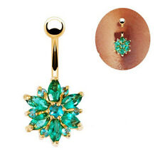 Newest Crystal Flower Dangle Navel Belly Button Rings Bar Body Piercing Jewelry