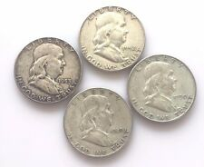 Four Different Franklin Half-Dollars VF-XF 1949-S,1950-D, 1952, 1953 *SEE PHOTOS