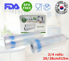 "2/4 Roll Food Saver Storage Vacuum Sealers Freezer Bag Roll 8""11"" 20cm/28cmX15m"