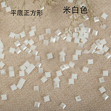 Beige white Half Square Pearl Beads Flat Back Scrapbook DIY for Craft FlatBack
