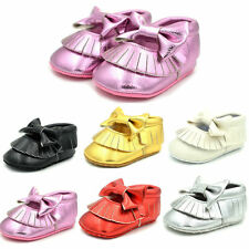 0-18M Infant Baby Girl Cute Soled Leather Bowknot Soft Shoes Toddler Moccasin