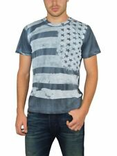 NEW ROCKSTAR SUSHI MEN'S 'USFW011 CREWNECK TEE S/S STRIPES & STARS PRINT IN BLUE