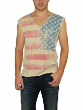 NEW ROCKSTAR SUSHI MEN'S 'VF030B' V-NECK TEE SLEEVELESS STRIPES & STARS IN BEIGE