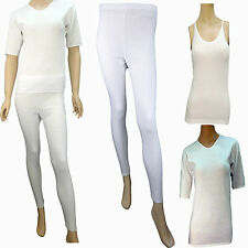 LADIES THERMAL UNDERWARE SHORT SLEEVED/ CAMISOLE VEST, LONG JANES SET / White