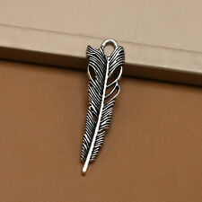 Wholesale 10/50pcs Tibet silver Feather Charm Pendant beaded Jewelry Findings