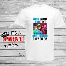 Your Image And Text Here Custom Printed Photo T-Shirts Personalised Stag Hen Tee