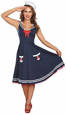 Blue Nautical Sailor Swing Dress Pin Up Girl Fouled Anchor Flap Hat Costume