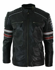Mens Black Cafe Racer Biker Jacket Red White Stripes Real Leather Casual Fit