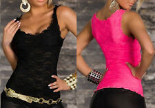 Sexy Women Solid Lace Perspective Sleeveless Slim Fit Top Tank Vest Camisole JBC