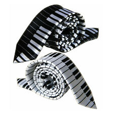 1/2 Black & White Piano Keyboard Keys Necktie Tie New Fashion