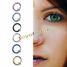 2pc Fake Stud Earrings Goth Punk Clip On Piercing Body Nose Lip Rings Hoop Ear