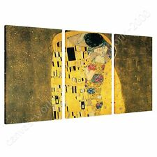 CANVAS +GIFT The Kiss Gustav Klimt 3 Panels Pictures Painting Wall Art Poster