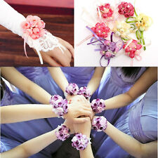 Wrist Corsage Bracelet Bridesmaid Sisters Hand Flowers Unique Party Bridal Prom