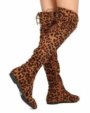 New Women Nature Breeze Vickie-40OK Leopard Over The Knee High Back Lace Boot