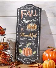 Wall Art Pumpkin Sunflower Chalkboard Fall Autumn Harvest Wooden Large Decor NEW