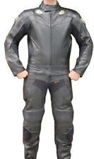 2pc Motorcycle Riding Racing Leather Track Suit with Padding New Black