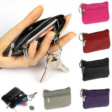 New Sell Women Men Genuine Leather Zip Coin Purse Mini Money Wallet Key Pouch