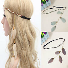 Braided Faux Leather Free Boho People Peacock Feather Headband Hippie Hairband