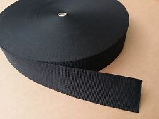 50mm / 5cm / 2 inch - Black webbing / Strapping. 5 - 25 metre lengths