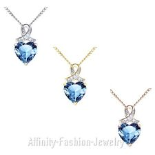 """6.06 Ct Blue Topaz Gemstone Sterling Silver Pendant Necklace with 18"""" Chain"""