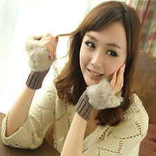 Stylish Women Fingerless Faux Fur Wrist Knitted Wool Mitten Gloves Winter Warm