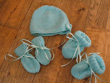New Hand Knitted Turquoise Baby Bonnet, Mitten, Booties Set 0-3/ 3-6/ 6-9 Months