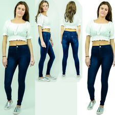 UK Ladies Womens High Waisted Stretchy Skinny Jeans Jegging Denim Pants Trousers