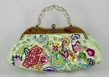 Light Green Embroidered Beaded Florals Evening Purse Handbag Formal Or Casual