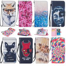 Fashion Painted Flip PU Leather Case Cover For Apple iPhone Samsung Galaxy Phone