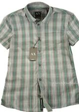 ARMANI EXCHANGE AX Mens Signature Ombre Check Button Down Shirt Logo Slim NWT