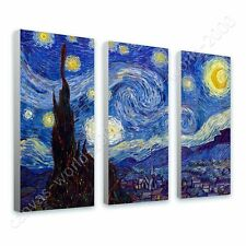 CANVAS +GIFT Starry Night Vincent Van Gogh 3 Panels Pictures Giclee Paintings