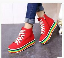 Fashion Womens Platform Casual Round Toe High Top Lace Up  Canvas Shoes Flats sz