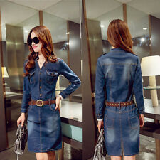 2016 New Women's Lady Casual Short Denim Jean Belted Dress Long Sleeve Shirt