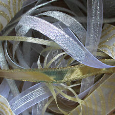 10m Bundle Mixed Metallic Ribbon Trimmings Assorted Widths Offcuts