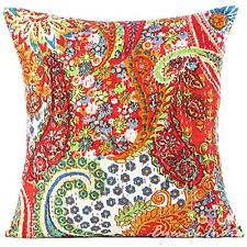 India kantha Throw Cushion Cover ethnic Pillow Case Floral Print home Decorative