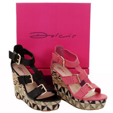 Ladies Dolcis Aztec Detail Design Heel Raffia Style Wedge Sandals In 2 Colours