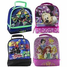 Dual-Compartment Childrens Kids Boys Girls Insulated Lunch Box School Picnic Bag