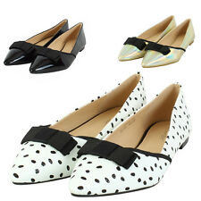 Womens Ladies Flats Dolly Pointed Toe Ballerina Ballet Bow Pumps Flat Shoes Size