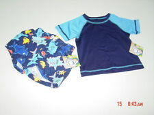NWT Infant Boys Op Bathing Suit Swim Beach 2 piece set Rashguard Top Blues