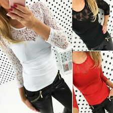 Sexy Women Lace V-neck Long Sleeve Ladies T-Shirt Top Stretch Casual Blouse Tops