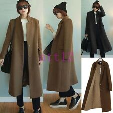 New Women's Super Long Trench Wool Blend Slim Cashmere Outwear Jacket Coat Parka