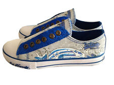BRAND NEW ED HARDY KIDS GLAMMER SHOES WHITE AND BLUE  US SIZE 1 , 2 , 3 , 4