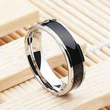 Mens Stainless Steel Ring Titanium Black 6mm Size 7/8/9/10/11/12/13 Jewelry