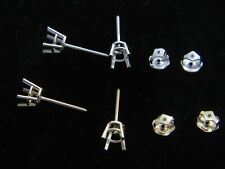 Solid 14k Yellow/White gold BASKET earring setting 4 prong round Screw back pair