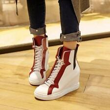 Womens Shoes Fashion Leather Sneakers High Top Lace Up Sport Wedge Ankle Boots