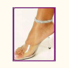 Clear or AB Crystal Rhinestone Stretch fit Anklet Silver or Gold 1, 2 or 3 Rows