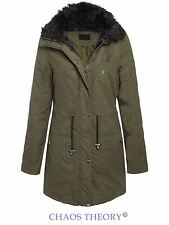 Brave Soul Womens Ladies Chunky Fur Collared Cotton Twill Parka Coat Jacket