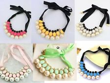 Women Girls Fashion Elegant Faux Pearls Pendant Ribbon Collar Necklace Party