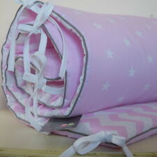 100%COTTON Cot Bed  Bumper Baby Pink & White  Stars Chevron  Girls grey piping
